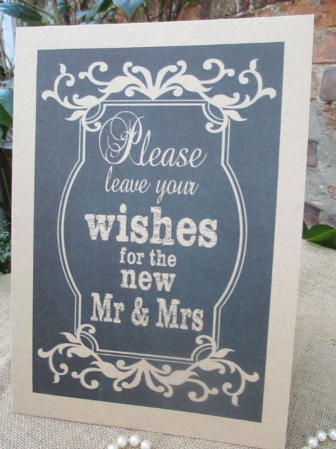 Wish Tree Wishes for the New Mr & Mrs A4 Size Poster Chalkboard Style  Kraft Card